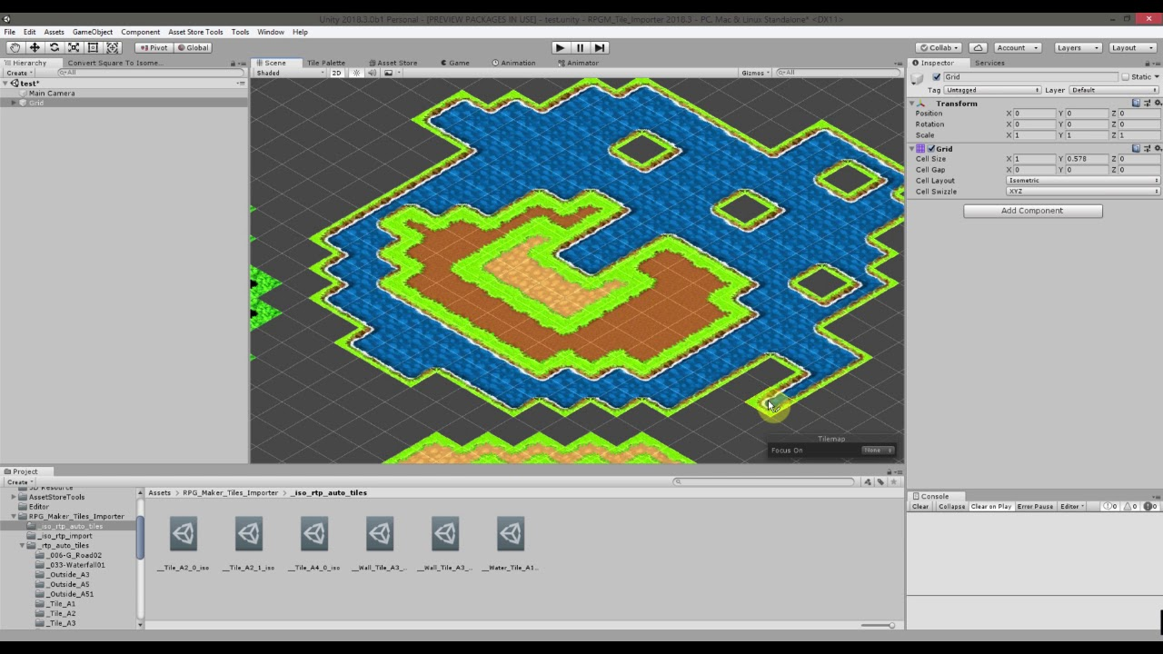 Unity 2018 3 Isometric tile map editor rtp rpgmaker tiles autotile animated
