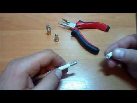 Как поставить штекер на антенный кабель