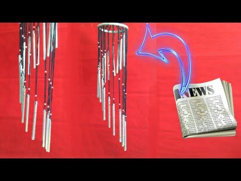 Newspaper wind chime | newspaper jhumar || wall hanging | newspaper craft | HMA##289