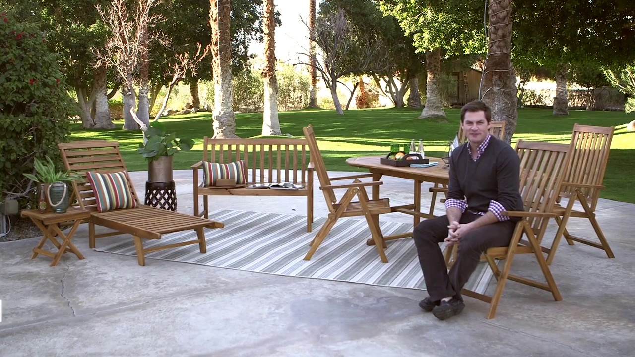 C Coast Summer Acacia Wood 8 Piece Patio Dining Set Product Review Video
