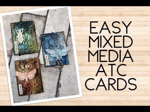 Easy mixed media ATC cards - bugs