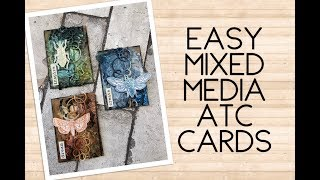 Easy mixed media ATC cards - bugs