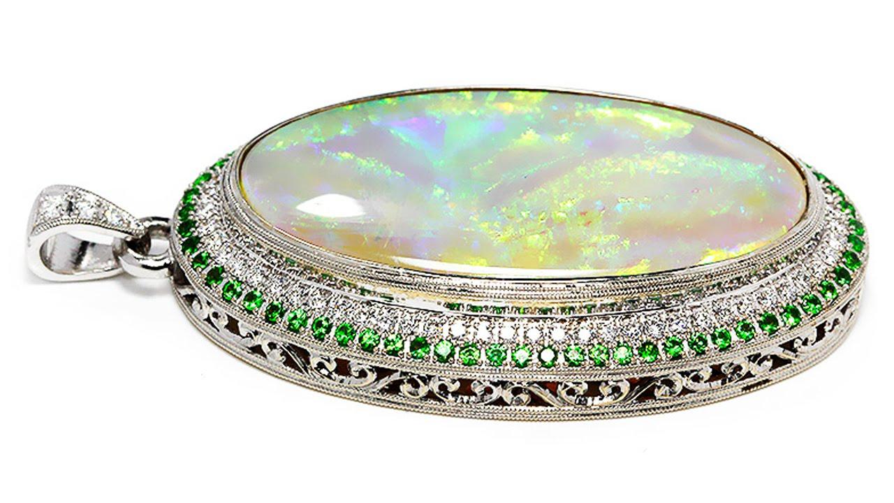 Custom australian opal pendant with diamonds and tsavorites in white custom australian opal pendant with diamonds and tsavorites in white gold aloadofball Images