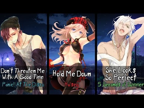 Nightcore - Hold Me Down, She Looks So Threatening (Mashup) (Switching Vocals)