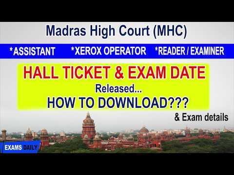 Madras High Court Hall Ticket Download 2019
