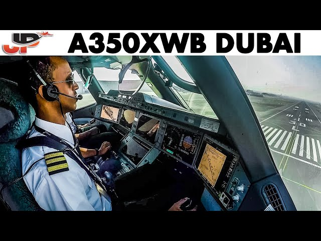 Piloting Airbus A350XWB into Dubai | Cockpit Views