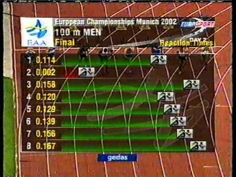 Atletismo :: Francis Obikwelu, medalha de prata nos 100m do Europeu de Munique em 2002.
