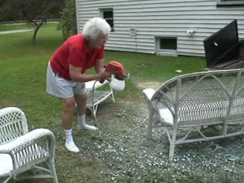 Barb Spray Painting Wicker Furniture Youtube