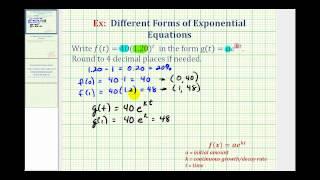 Ex: Umschreiben Exponentialfunktionen: y = ab^t y = ae^(kt)