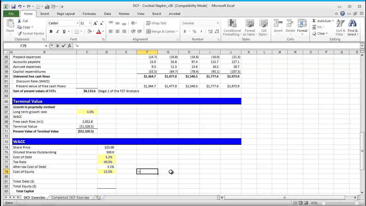 Financial Modeling Quick Lesson: Building a Discounted Cash Flow (DCF) Model - Part 2 - YouTube