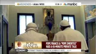 Pope Francis I and Benedict XVI praying to a Black Madonna