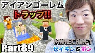 【マインクラフト】Part89 - アイアンゴーレムトラップ作って鉄を無限生成!【セイキン夫婦のマイクラ】