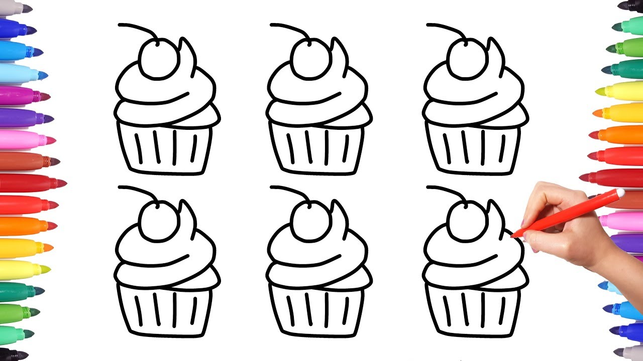 how to draw cupcakes coloring pages for kids colorful cupcakes