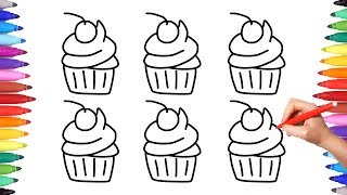 How to Draw Cupcakes Coloring Pages for Kids | Colorful Cupcakes Art | Drawing Videos for Kids