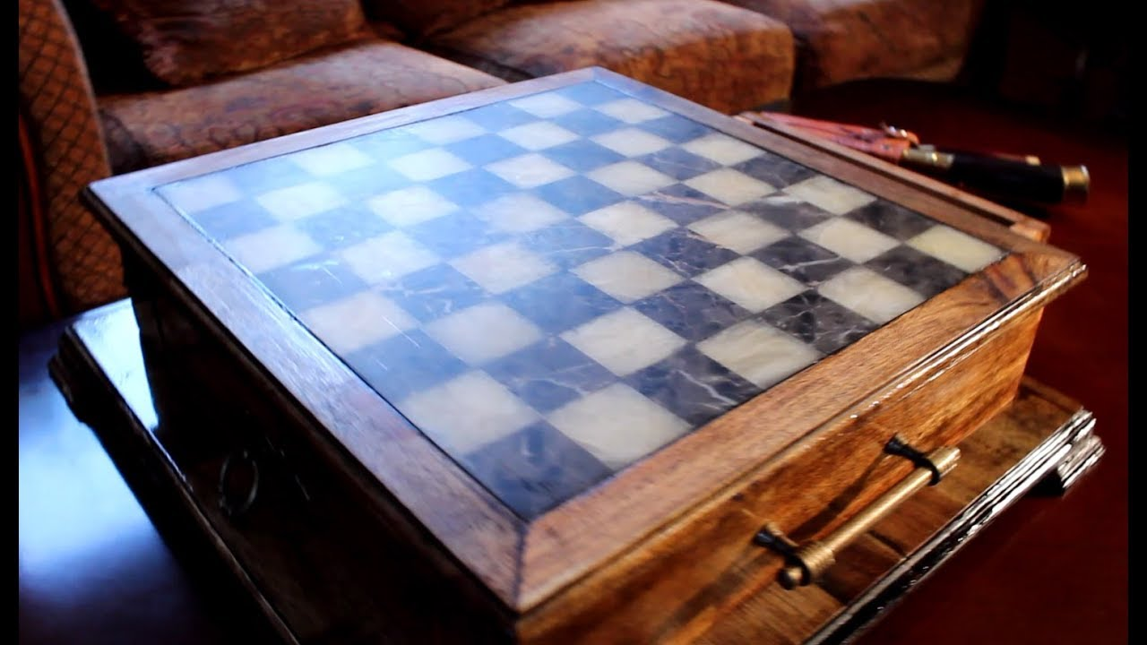 Making of Marble Chess Board with acacia solid wood table