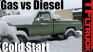 Gas vs Diesel: 5 Degree Frozen Chevy Truck Cold Start Behind the Scenes Competition!