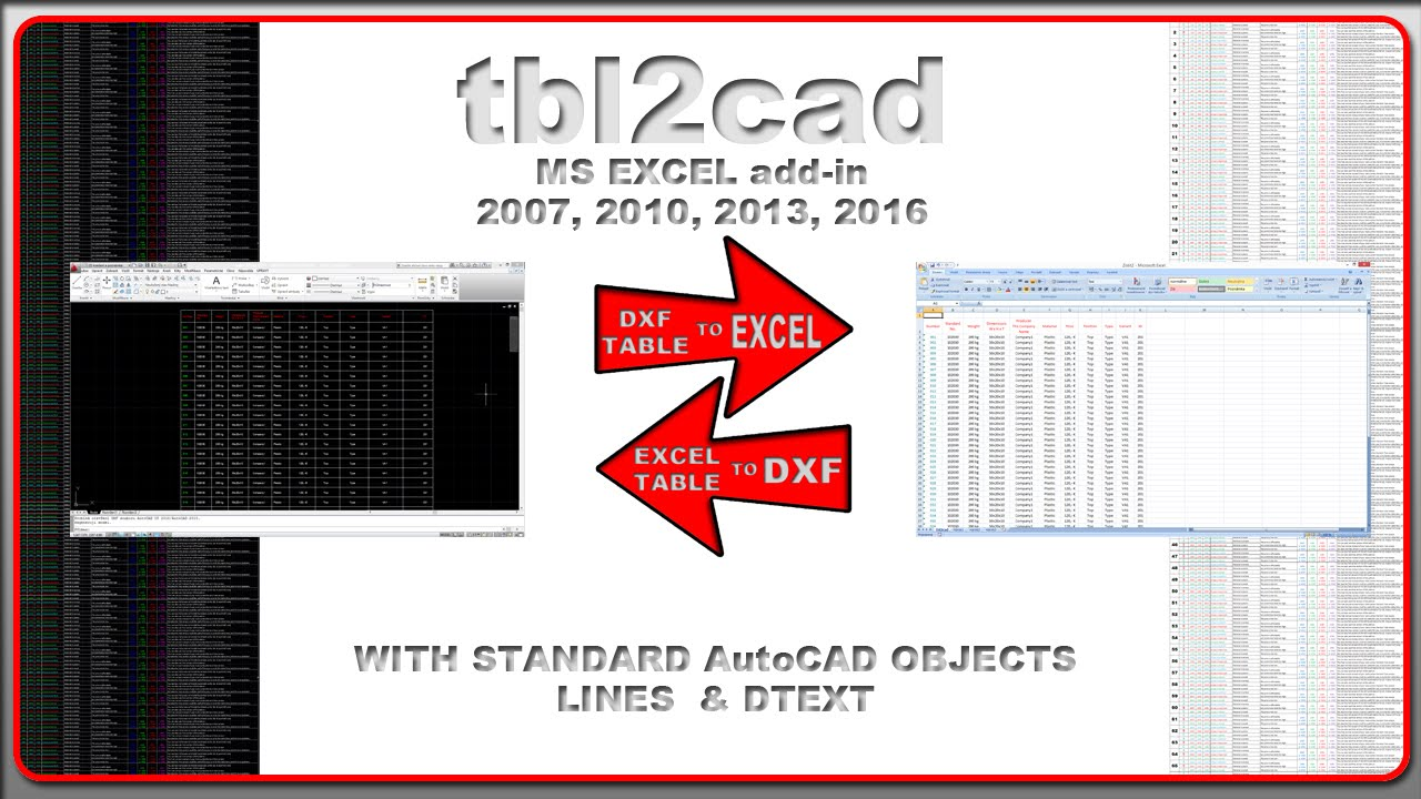 tbl2cad - Excel add-in to import/export tables to/from DXF file