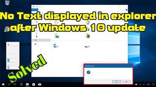 No text displayed in explorer after windows 10 Creators Update