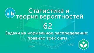 задачи на нормальное распределение: правило трёх сигм (видео 62)  Статистика и теория вероятностей