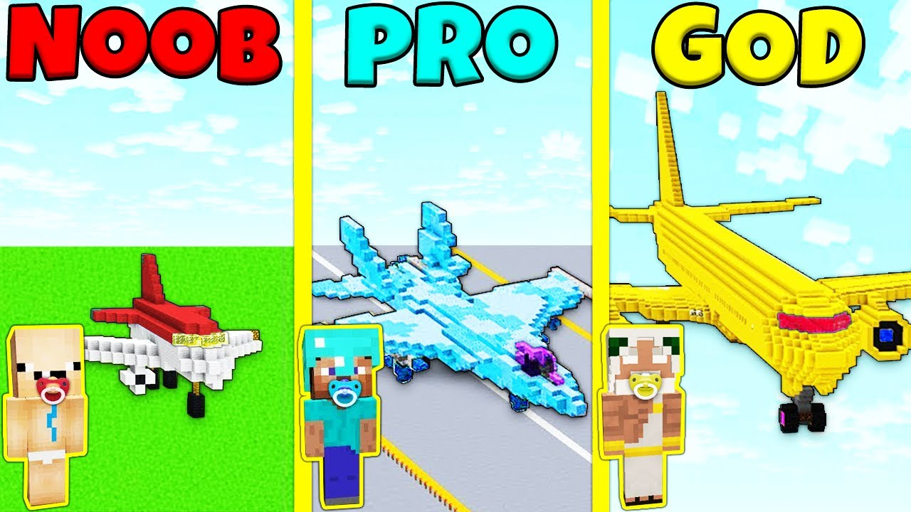 Minecraft Battle: NOOB vs PRO vs GOD: KID PLANE BUILD CHALLENGE / Animation