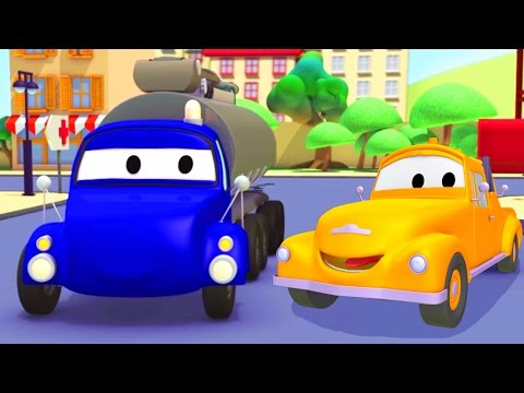 Tom the Tow Truck and the Tanker Truck and their friends in Car City