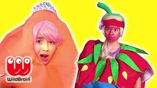 PRINCESS TURNS INTO A GIANT STRAWBERRY & CARROT - Princesses In Real Life | WildBrain Kiddyzuzaa