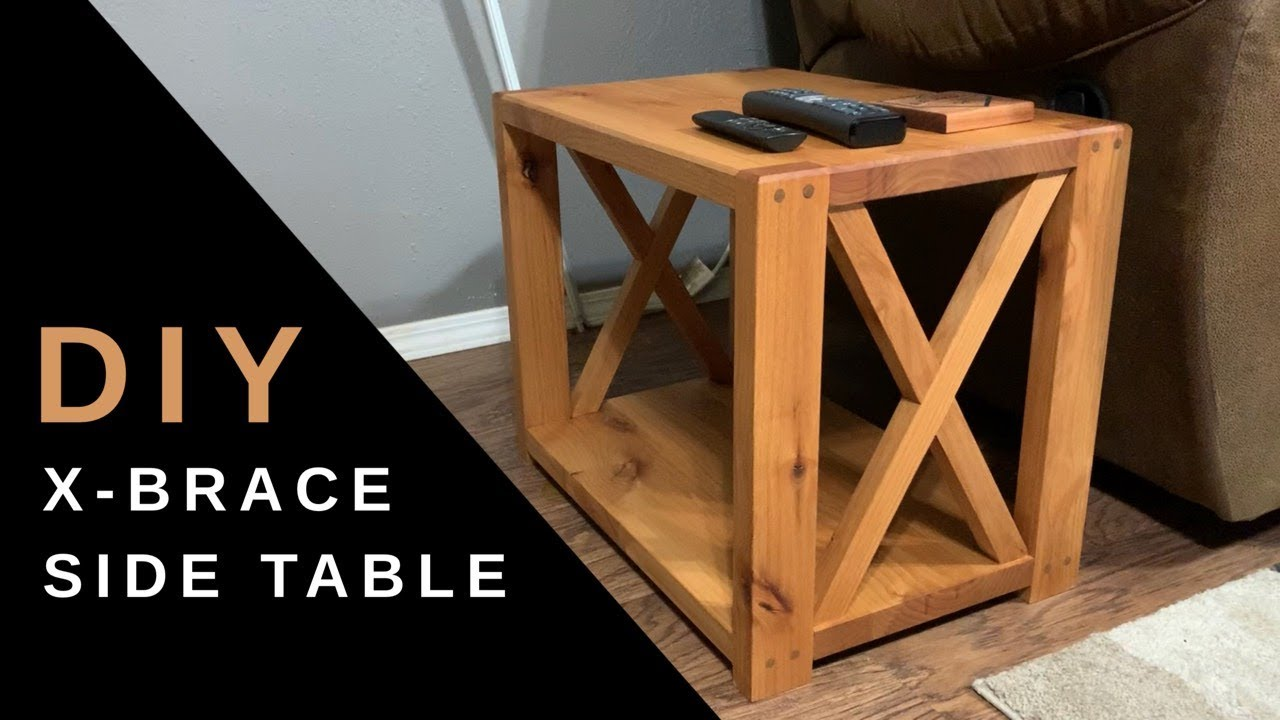 how to build a diy farmhouse side table x brace end table