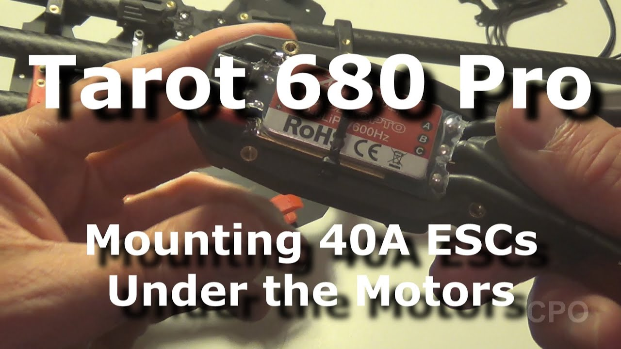 small resolution of tarot 680 pro hexacopter 40a esc mounting under motor ztw