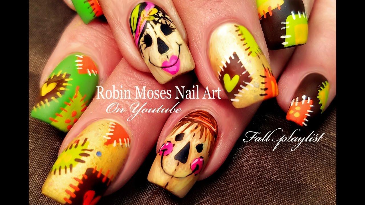 Cute Scarecrow Nails Diy Fall Patchwork Nail Art Design Tutorial
