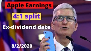 Apple earnings report/4:1 stock split/Ex-dividend date/AAPL/New 5G iphone release date