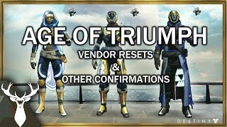 Rise of Iron: Age of Triumph - Vendors Resetting, and other New Info
