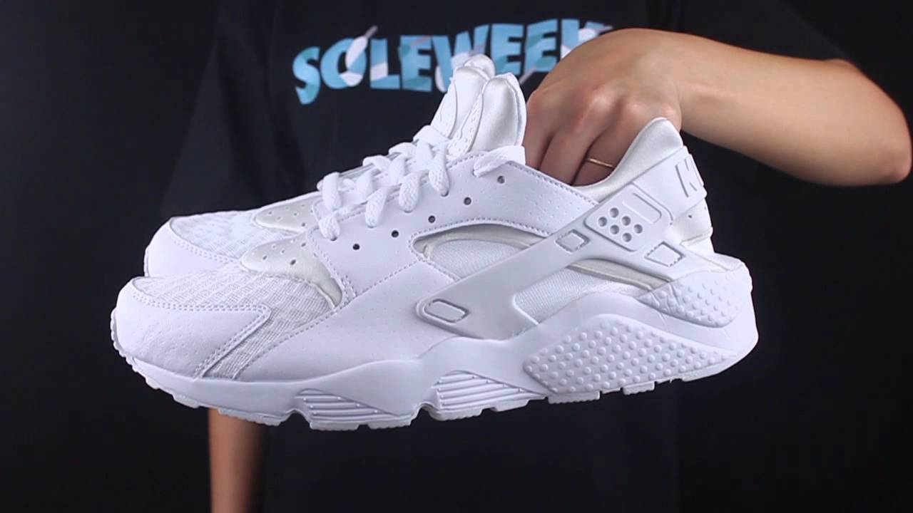 big sale 0aff2 52770 Nike Air Huarache Triple White unboxing   detailed look - YouTube