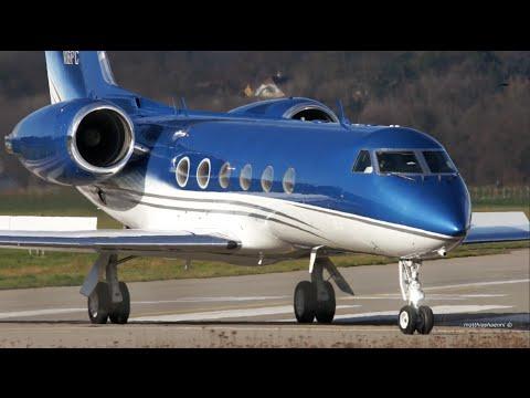 Gulfstream IV Landing at Bern Airport - Non-Stop Flight from USA