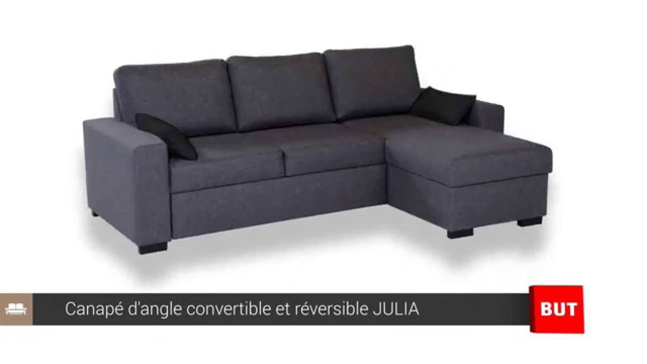 Canap d 39 angle convertible et r versible julia but youtube for Canape d angle blanc et gris