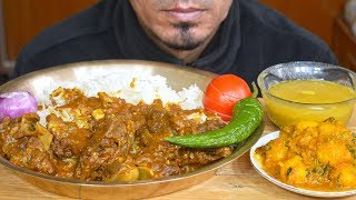 Eating Spicy Mutton Kosha, Long Rice, Onion, Chili, Aloo Dum - Bengali Food Eating - Eating ASMR