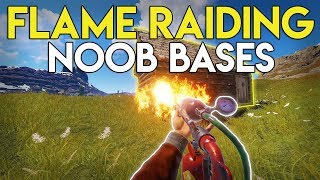 FLAMETHROWER RAIDING NOOB BASES! - Rust Solo Survival #11