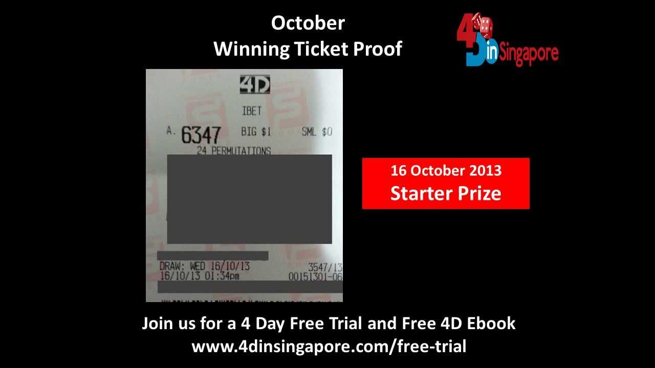 Singapore Pools - 4D Winning Tickets Proof (October 2013)