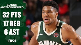 Giannis Antetokounmpo records 32 points, 17 rebounds in Bucks vs. Blazers | 2019-20 NBA Highlights