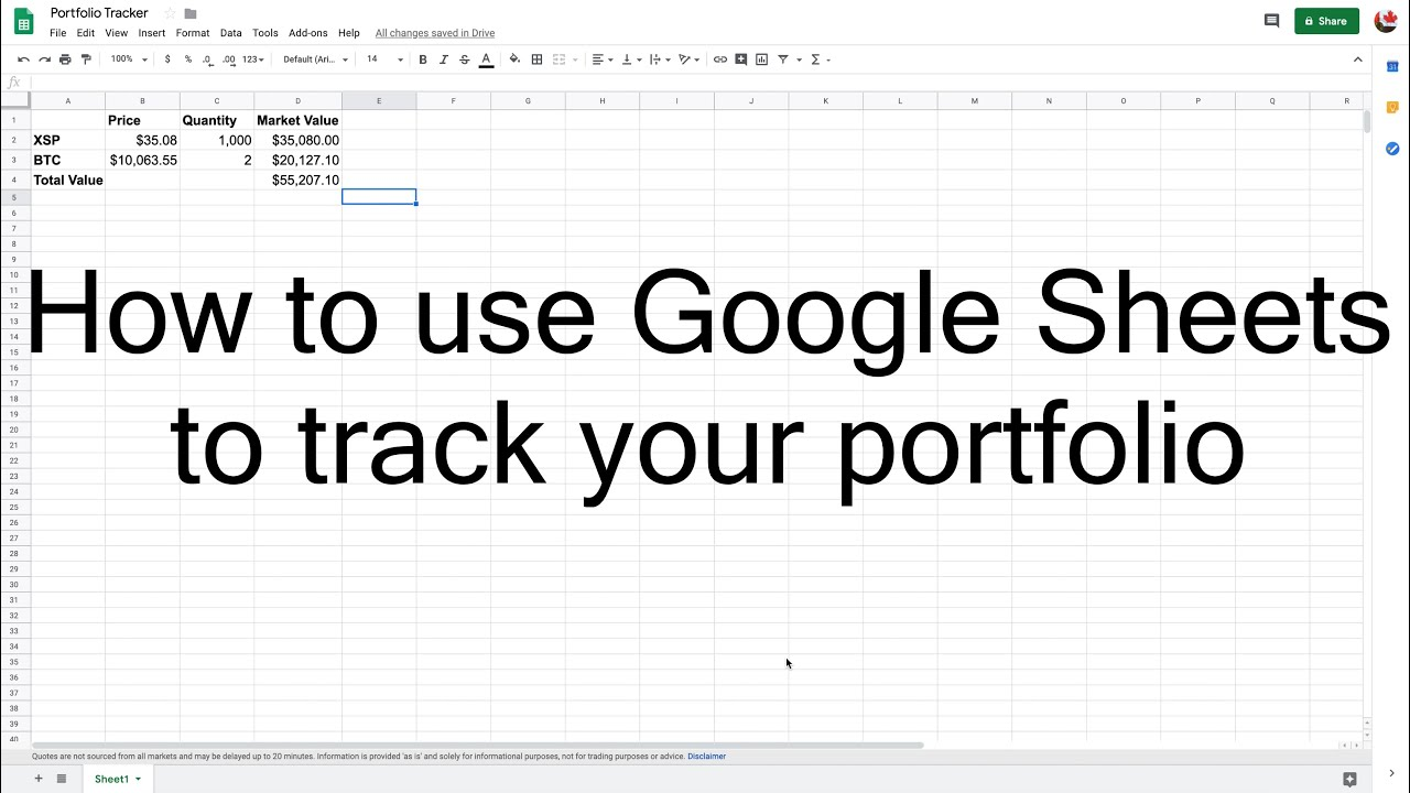 How to track your crypto portfolio with Google sheets
