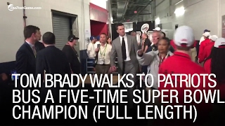 EXCLUSIVE: Tom Brady Walks to Patriots Bus A Five-Time Super Bowl Champion (Full Length)
