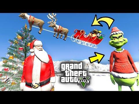 THE GRINCH STOLE SANTA'S SLEIGH!!! SANTA VS GRINCH GTA 5 CHRISTMAS MOD