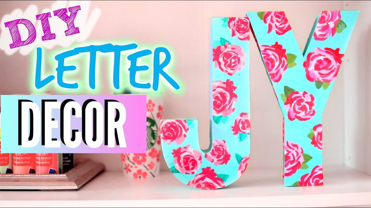 diy room decorations easy floral block letters youtube - Letter Decor
