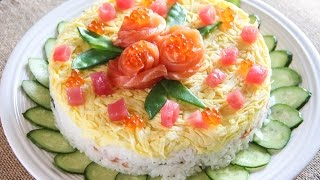 Sushi Cake Recipe   Japanese Cooking 101