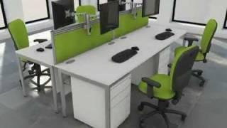 Office Furniture White Bench Desk Green Option