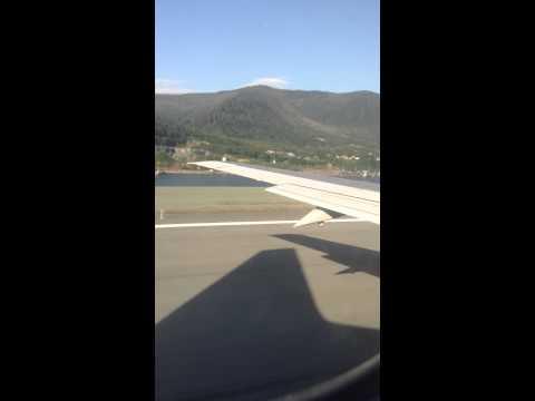 Alaska - Ketchikan Intern. Airport - Full Taxi and Take off - Air Alaska B737 Jet - Engine sound