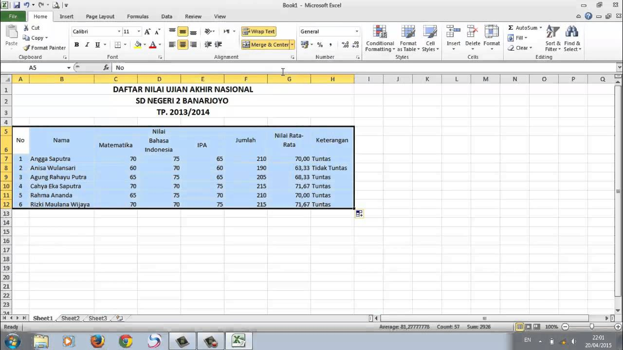 Cara Membuat Database Dalam Ms Excel Youtube
