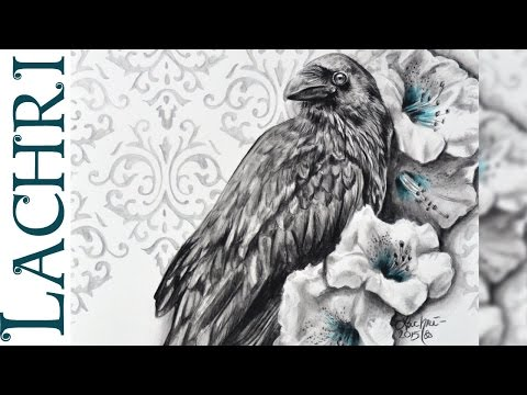 Water Soluble graphite review and raven painting demo w/ Lachri