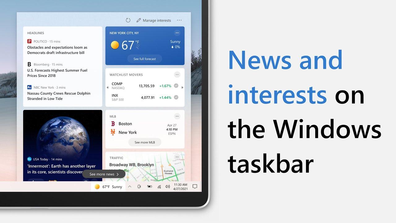 Introducing news and interests on the Windows taskbar