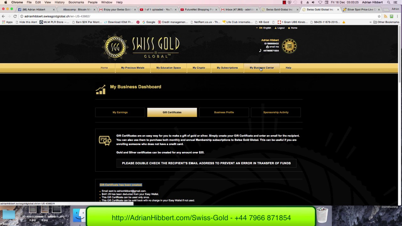 Swiss Gold Global - Buying Silver with my Commissions using a Gift ...