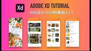Adobe XD入门新手教程: 功能介绍+界面/交互设计   Mobile App UI/UX Design in Adobe XD - Tutorial for Beginners/